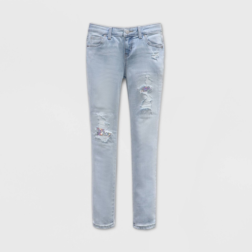Best Girls' Flip Sequin Distressed Skinny Jeans - Cat & Jack™ Light Wash