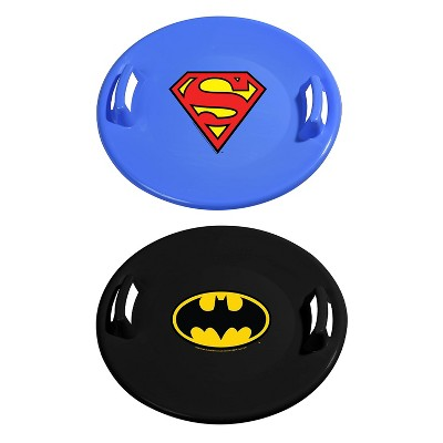Slippery Racer Downhill Pro Round Heavy-Duty Cold Resistant Batman and Superman Adults and Kids Plastic Saucer Disc Snow Sled Set with Handles, 2 Pack