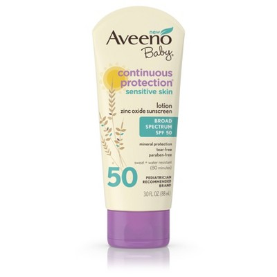 Aveeno Baby Continuous Protection Zinc Oxide Mineral Sunscreen - SPF 50
