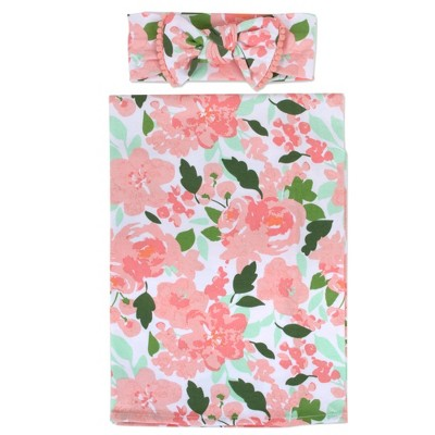 Baby Essentials Floral Swaddle Blanket and Headband