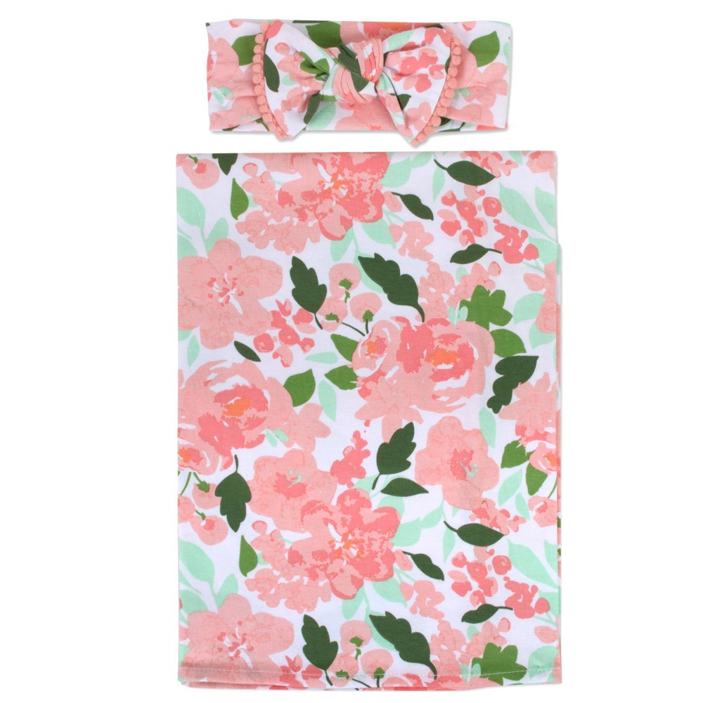 Image of Baby Essentials Floral Swaddle Blanket and Headband