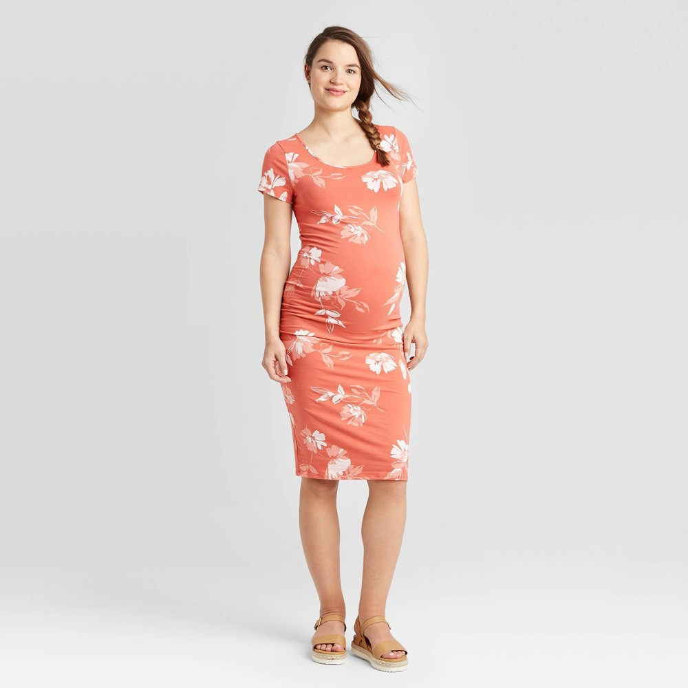 Floral Print Short Sleeve T-Shirt Maternity Dress - Isabel Maternity by Ingrid & Isabel Red XS was $24.99 now $10.0 (60.0% off)