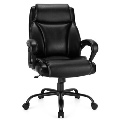 Costway 400 LBS Big & Tall Leather Office Chair Adjustable High Back Task Chair