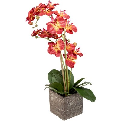 """Studio 55D Red Orchid 26"""" High Silk Potted Plant"""