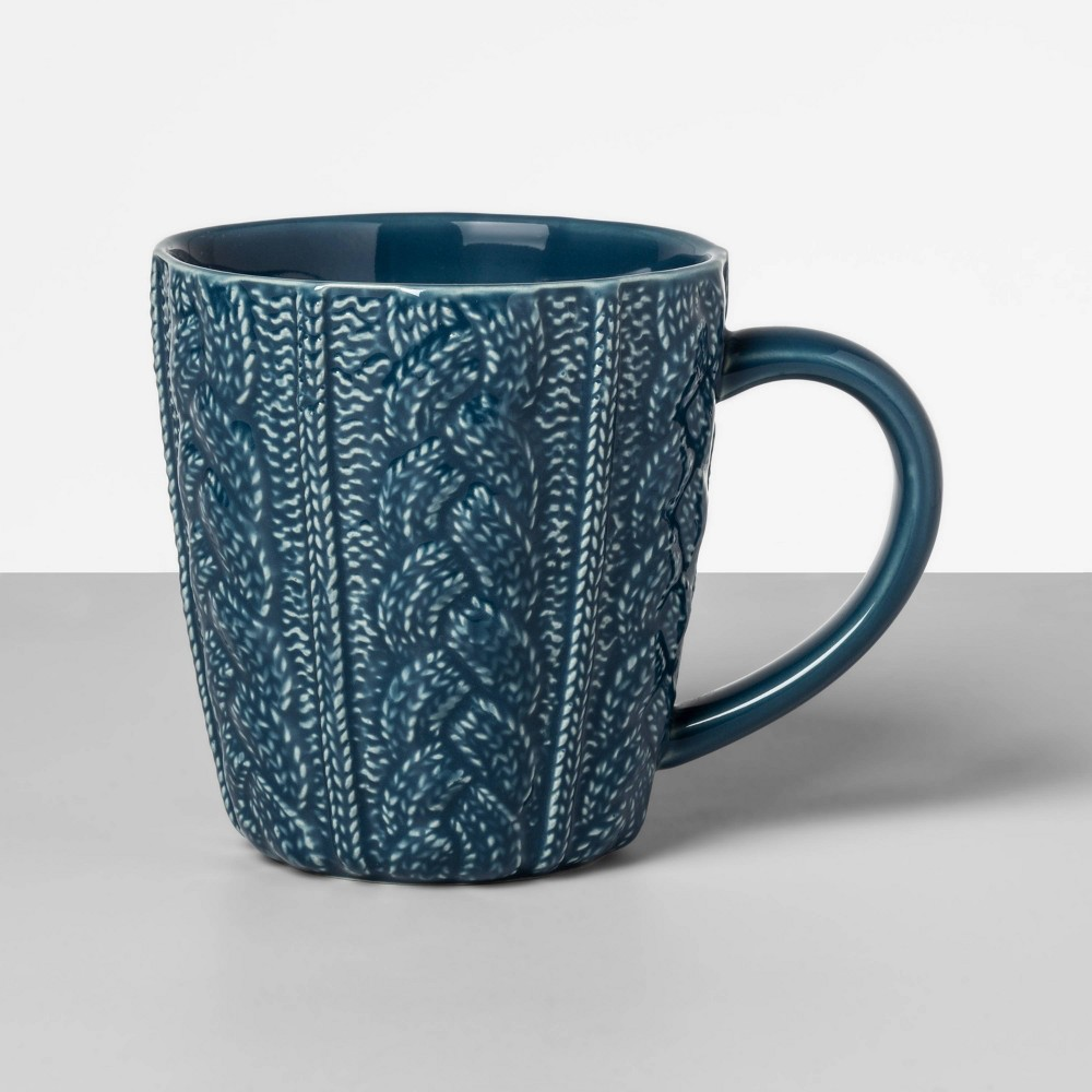 Image of 13oz Stoneware Embossed Sweater Mug Blue - Opalhouse
