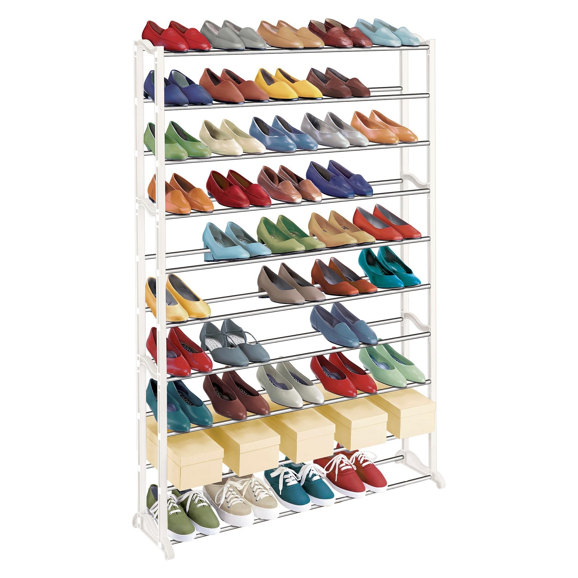 Lynk 50 Pair Shoe Rack - 10 Tier - Shoe Shelf Organizer - White