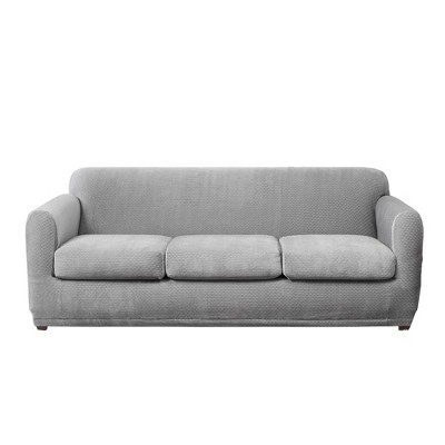 Stretch Modern Block 3 Seat Sofa Slipcover Gray - Sure Fit