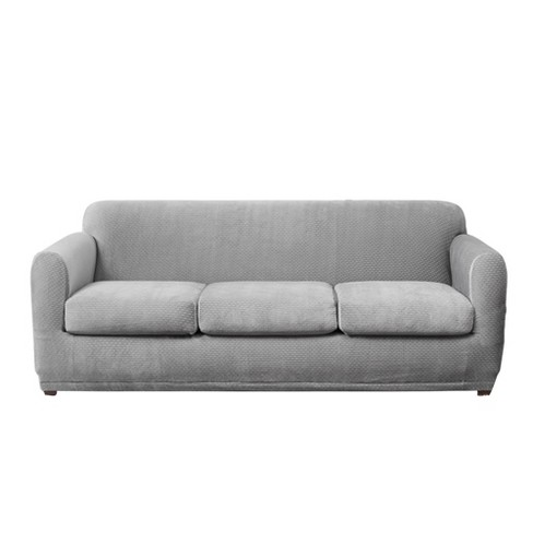 Modern Block 3 Seat Sofa Slipcover Gray