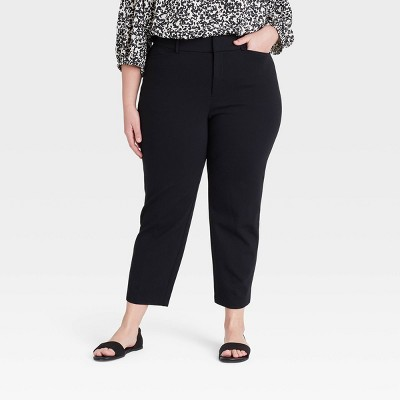 Women's Plus Size Ankle Length Ponte Pants - Ava & Viv™ Black