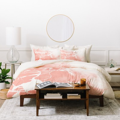Abstract Emanuela Carratoni Duvet Cover Set Pink with White - Deny Designs