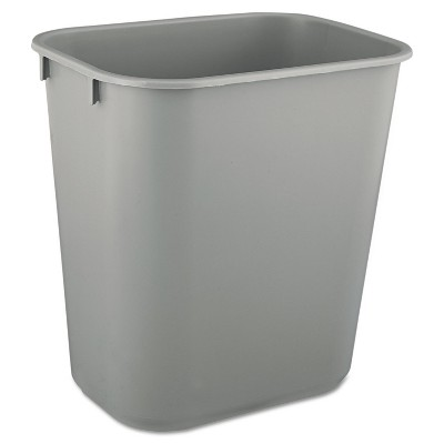 Rubbermaid Commercial Deskside Plastic Wastebasket Rectangular 3 1/2 gal Gray 2955GRA