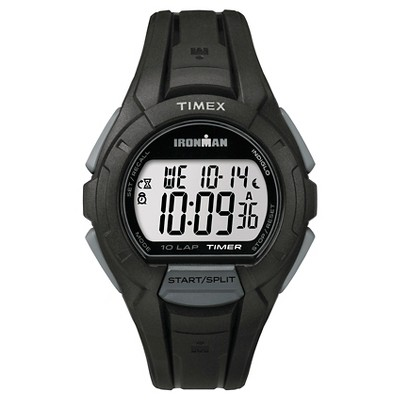 Men's Timex Ironman Essential 10 Lap Digital Watch - Black/Gray TW5K940009J