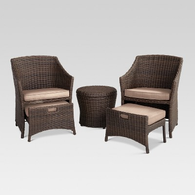 Belvedere 5pc All-Weather Wicker Patio Chat Set - Tan - Threshold™