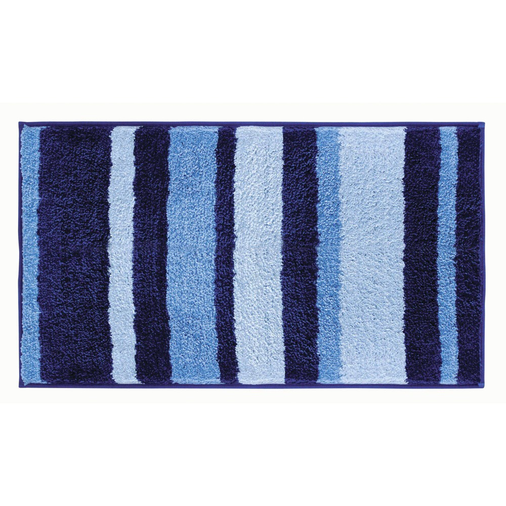 "Image of ""34""""x21"""" Striped Bath Rug Blue - iDESIGN"""