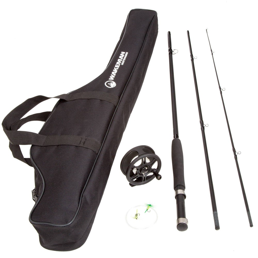Image of Wakeman Charter Series Fly Fishing Combo with Carry Bag - Black