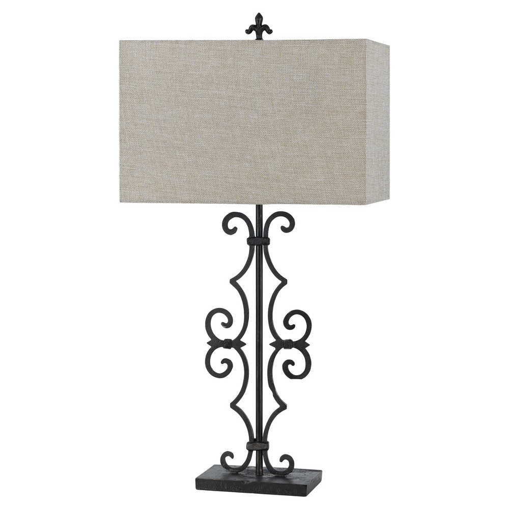 Image of Way Soria Cast Iron Table Lamp With Hardback Burlap Shade 150w 3 Black (Includes Energy Efficient Light Bulb) - Cal Lighting