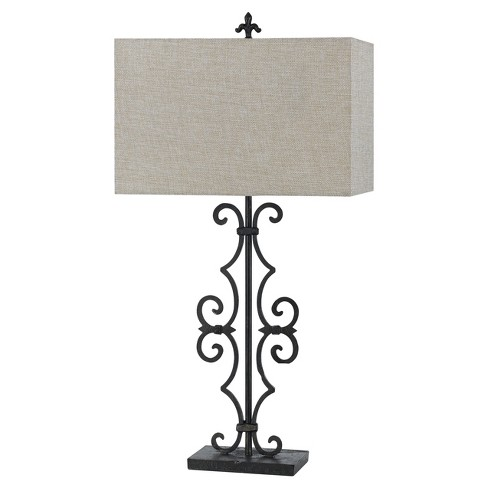 Way Soria Cast Iron Table Lamp With Hardback Burlap Shade 150w 3