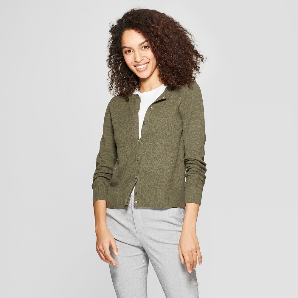Women's Any Day Long Sleeve Cardigan - A New Day Olive (Green) M