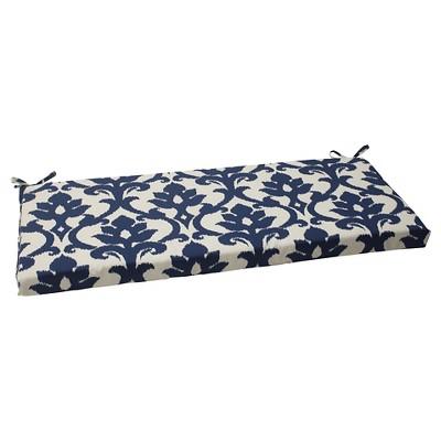 Outdoor Bench Cushion - Blue/White Damask