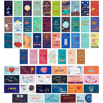 60-Pack Romantic Inspirational Lunch Box Love Notes for Husband, Wife, Adults, 60 Card Designs, 2 x 3.5 inches