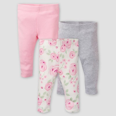 Gerber Baby Girls' 3pk Floral Pull-On Pants - Pink/Off-White/Gray