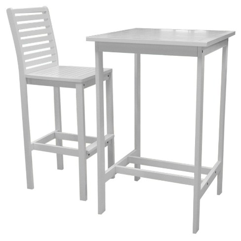 Vifah Bradley 2pc Set Outdoor Wood Bar Table & Bar Chair - White - image 1 of 2