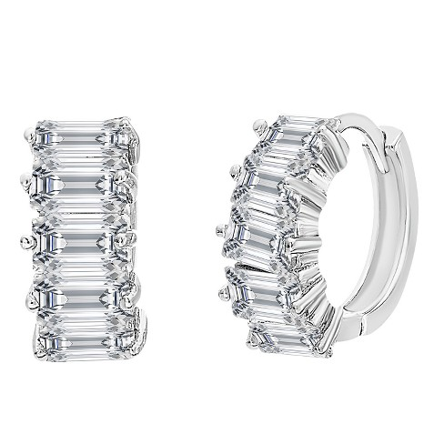 18K White Gold Sterling Silver Cubic Zirconia Baguette Huggie Earrings - image 1 of 3