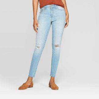 Women's High-Rise Distressed Jeggings - Universal Thread™ Light Wash 6