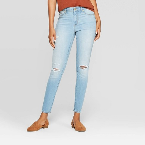 Women's High-Rise Distressed Jeggings - Universal Thread™ Light Wash - image 1 of 3