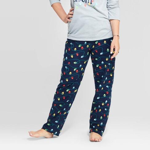 Women's Holiday Twinkly Light Fleece Pajama Pants - Wondershop™ Navy - image 1 of 3