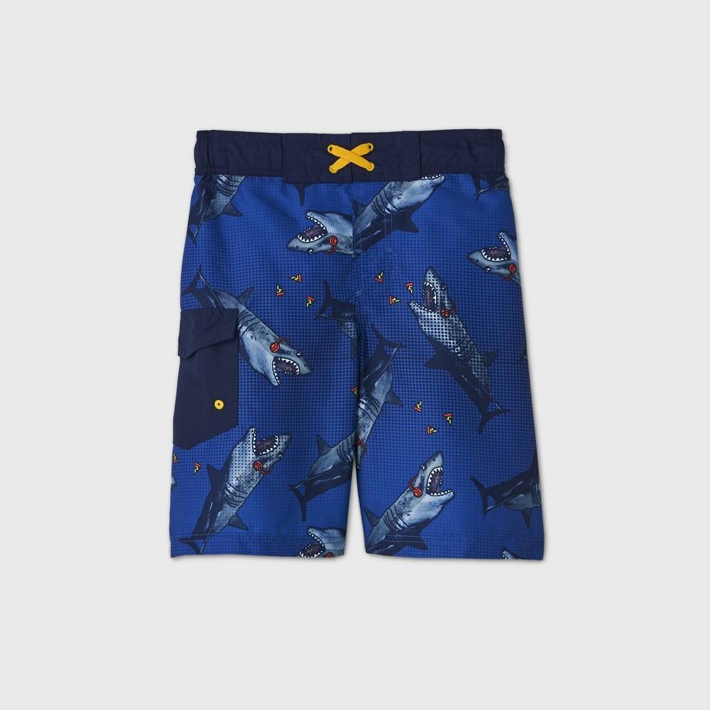 Boys 39 Shark Pizza Print Swim Trunks Cat 38 Jack 8482 Blue Xs