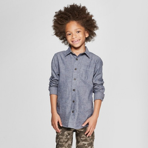 Boys' Long Sleeve Button-Down Shirt -Cat & Jack™ Gray - image 1 of 3