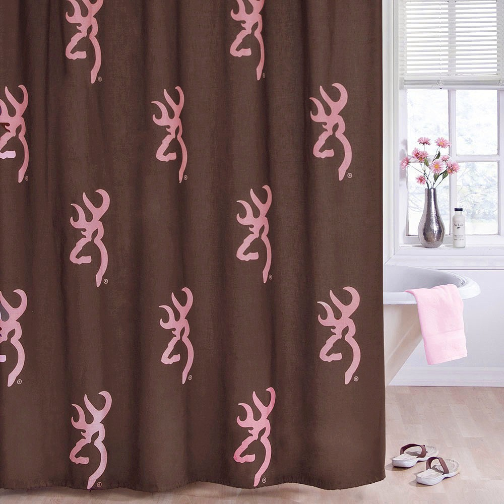 Image of Browning Buckmark Shower Curtain Pink - Browning