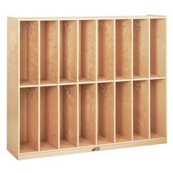 ECR4Kids 16-Section Classroom Coat Locker - Slim-Fit Birch Storage for Schools
