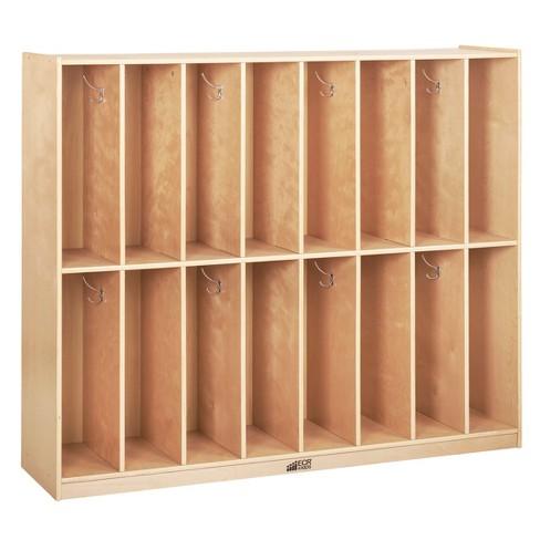 ECR4Kids 16-Section Classroom Coat Locker - Slim-Fit Birch Storage for Schools - image 1 of 4
