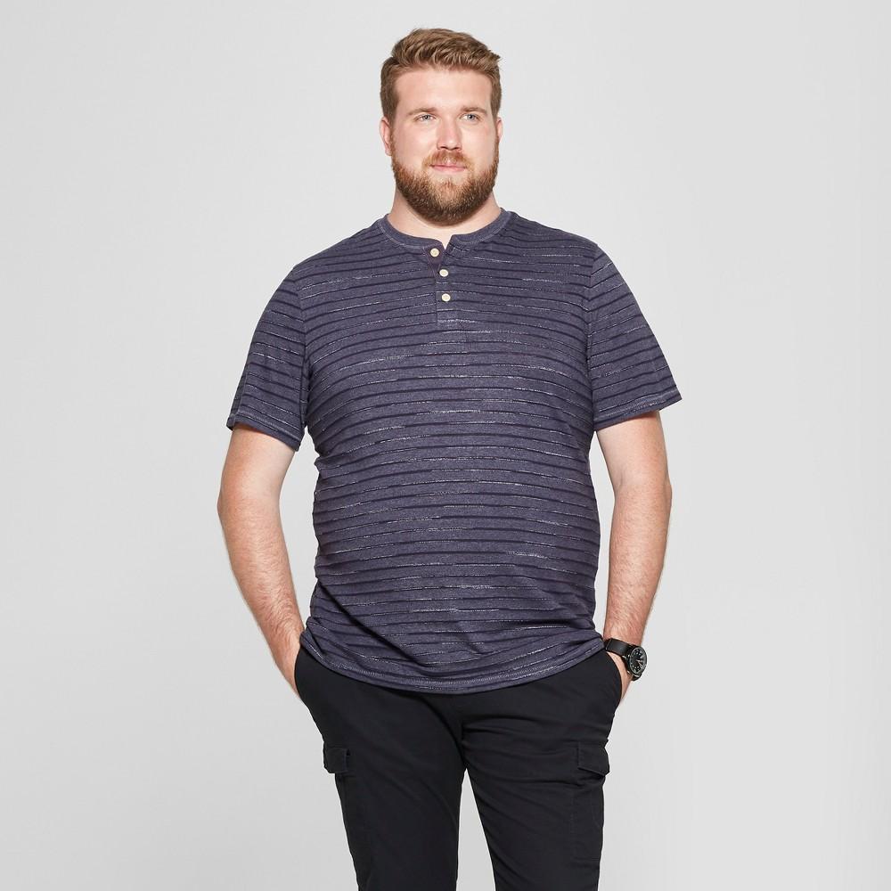 Men's Big & Tall Striped Regular Fit Short Sleeve Henley - Goodfellow & Co Federal Blue 4XBT