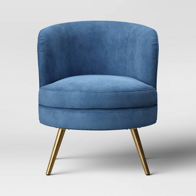 Beadle Accent Chair with Brass Leg Velvet Blue - Project 62™