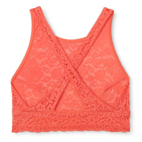 9ab12d71615 Women s High Neck Crossback Lace Bralette - Xhilaration™ - Hawaiian Coral  XS   Target