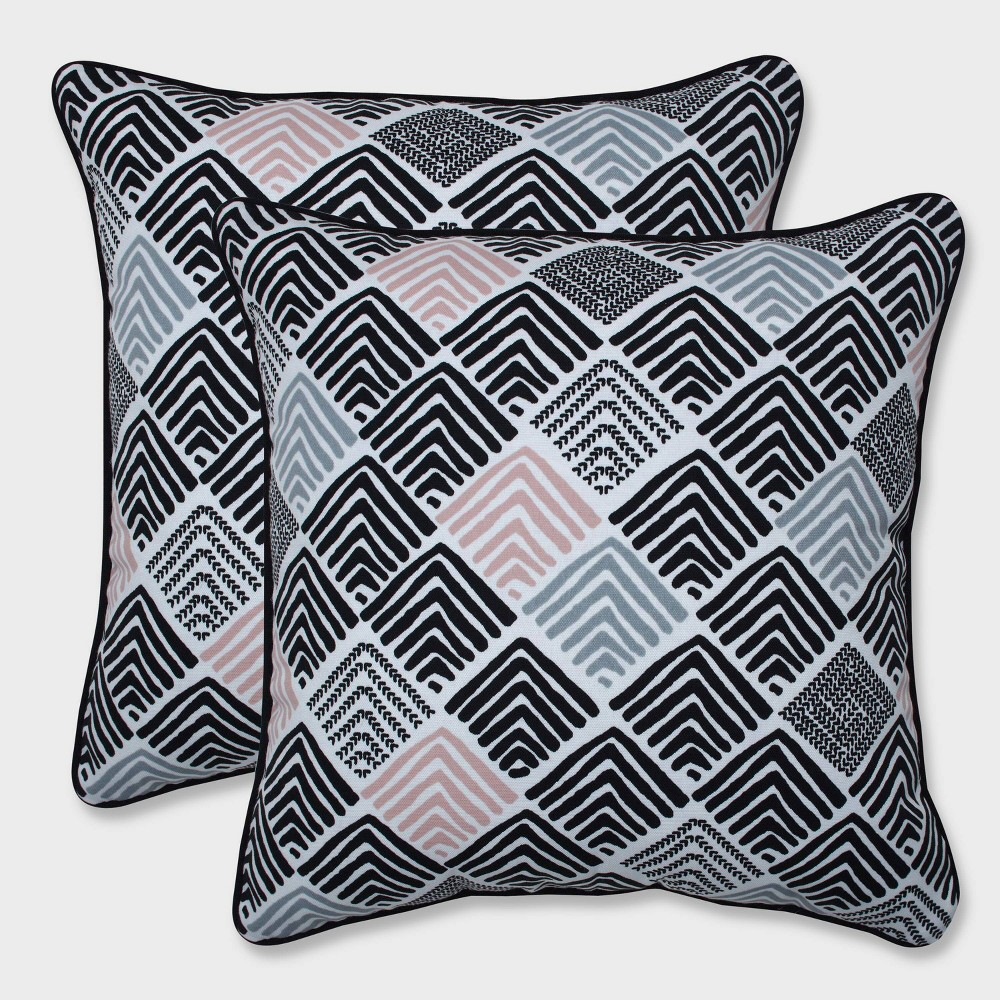 "Image of ""16.5"""" 2pk Belk Shadow Throw Pillows Black - Pillow Perfect"""