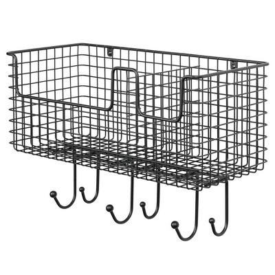 mDesign Metal Storage Organizer Basket with 6 Hooks - Wall Mount