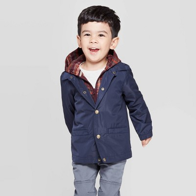 Toddler Boys' 2-In-1 Windbreaker Jacket - Cat & Jack™ Navy/Plaid 18M