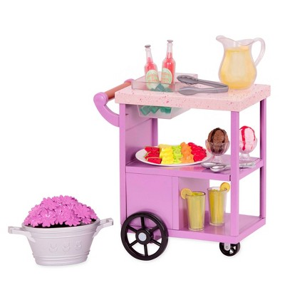 """Our Generation Patio Treats Trolley with Play Food Accessories for 18"""" Dolls"""