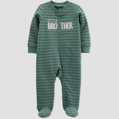 Baby Boys' 'Little Brother' Interlock Footed Pajama - Just One You® made by carter's Olive 9M