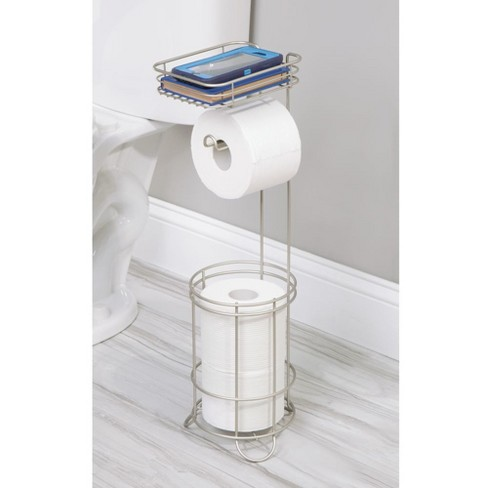 Reserve With Wire Media Shelf Pearl Freestanding Toilet Tissue