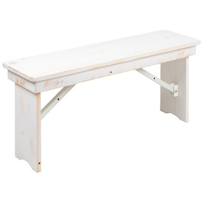 "Emma and Oliver 40"" x 12"" Antique Rustic White Solid Pine Folding Farm Bench - Portable Bench"