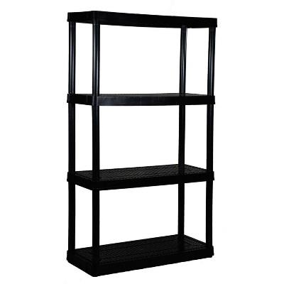 "Gracious Living 14"" x 32"" x 54.5"" 4-Shelf Tier Resin Multi-Purpose Medium Duty Indoor Garage Storage Organizer Shelves, Black"