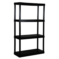 Gracious Living 4 Shelf Tier Medium Resin Indoor and Garage Storage Shelf, Black