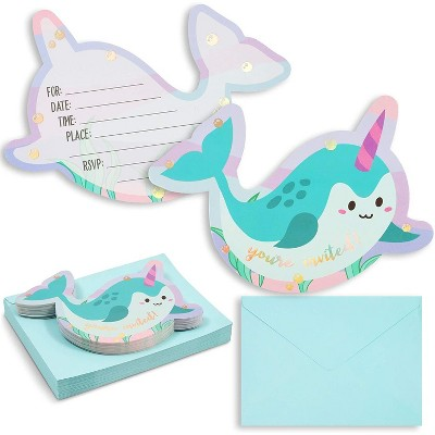 36-Pack Narwhals Under the Sea Birthday Party Invitations with Aqua Envelopes, Fill-in Invitation Cards for Kids, 5x7 inches