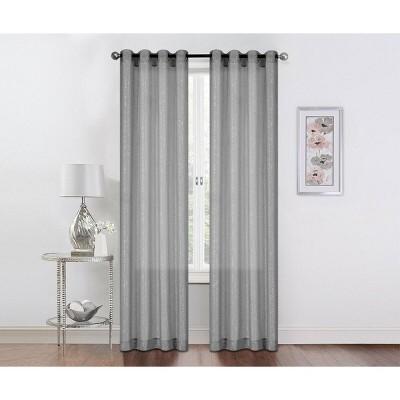Kate Aurora 2 Pack Sparkly Metallic Sheer Grommet Curtains