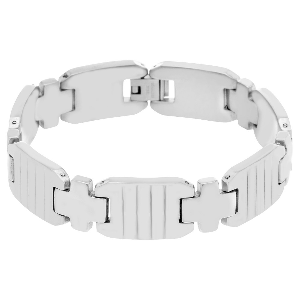 Men's Silver-Tone Stainless Steel Cross and Ribbed Links Bracelet, Silver